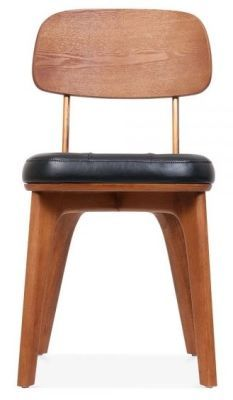 Gold Frame Black Leather Walnut Dining Chair