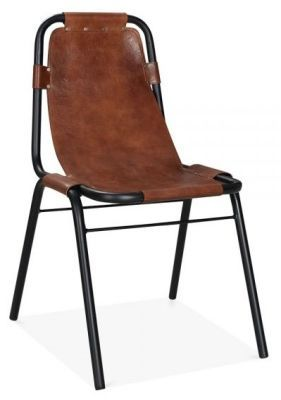 Industrial Goats Leather Designer Chair