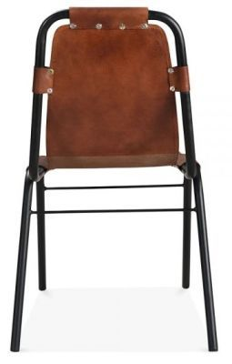 Industrial Designer Dining Chair Brown Genuine Leather