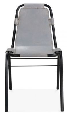 Grey Distressed Leather Dining Chair