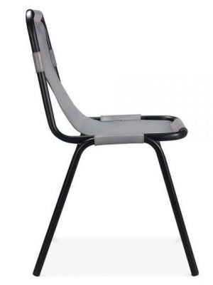 Grey Leather Industrial Dining Chair Iron Frame