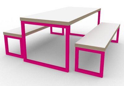 Benny Bench Dining Set Pink