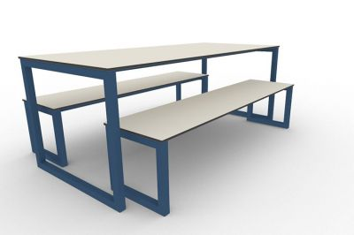 Benny Bench Table Set Outdoors Blue