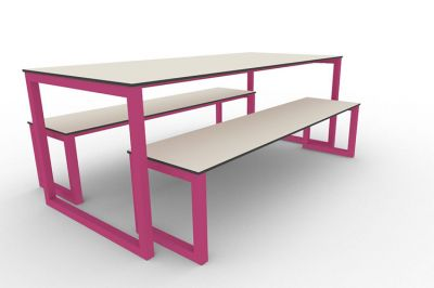 Benny Bench Table Set Outdoors Pink