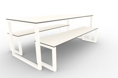 Benny Bench Table Set Outdoors White