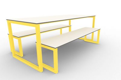 Benny Bench Table Set Outdoors Yellow