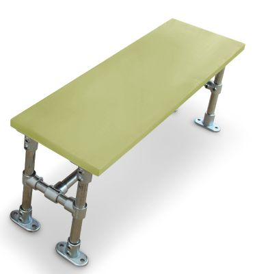 Durban Scaffold Dining Height Bench- Laminate Top Green