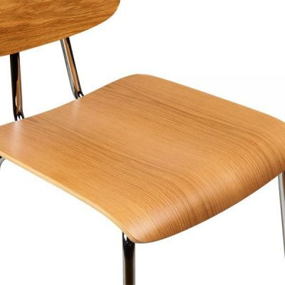 Chrome Wood Seat Cafe Chair Natural Leola