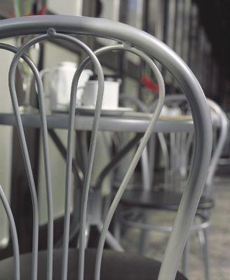 Silver Frame Tulipan Upholstered Bar Stool