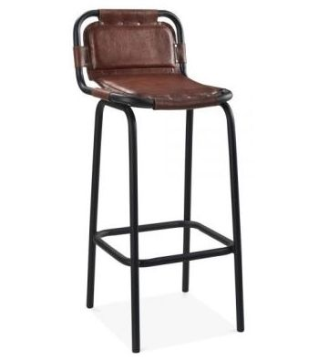 Industry Leather Bar Stool Brown
