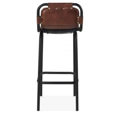 Industry Leather Bar Stool Brown Back