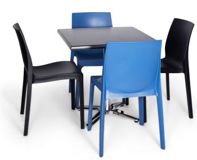 Moby Outdoor Dining Bistro Set - 4 Blue Black
