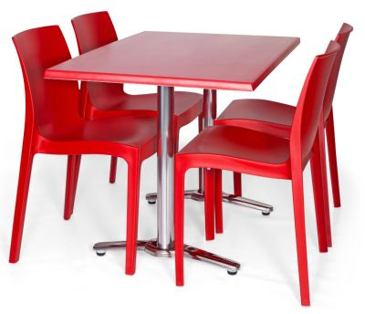 Moby Outdoor Rectangular Dining Bistro Set - 5 Red