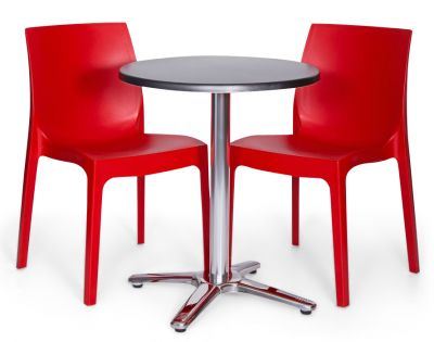 Moby Outdoor Round Bistro Set - 3 Red