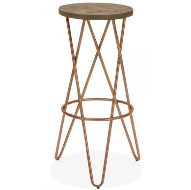 Chord Cross Bar Stool Copper Finish