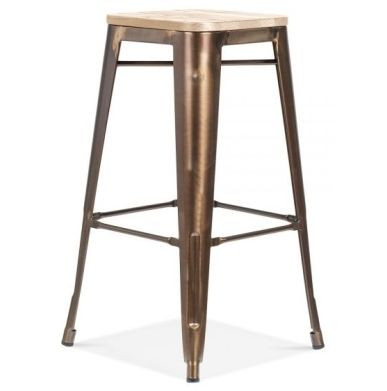Designer Xavier Stool Bronze Finish Wood Seat