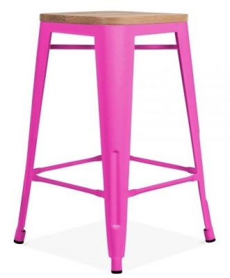 Tolix Hot Pink Bar Stool Wood Seat