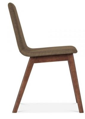 Brown Fabric Walnut Designer Dining Chair
