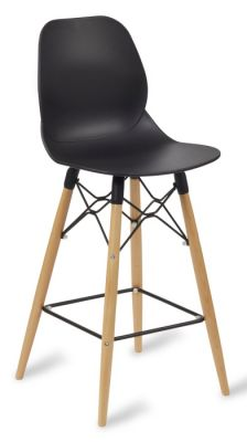 Mylo High Stool With A Black Chair And Beech Legs