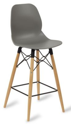 Mylo High Stool With Grey Set And Beech Legs