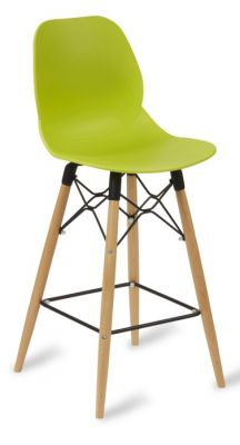 Mylo High Stool With Alime Green Seat And Beech Legs