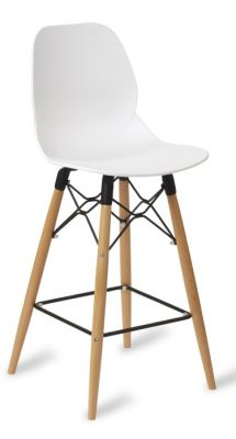 Mylo High Stool With A White Seat And Beech Legs