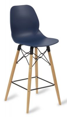 Mylo High Stool With A Navy Seat And Beech Legs