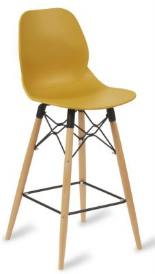 Mylo High Stool With A Mustard Coloured Seat And Beech Legs