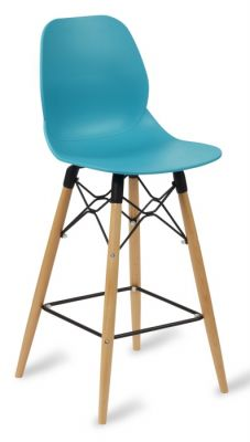 Mylo High Stool With A Turquoise Seat And Beech Legs