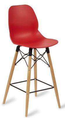 Mylo High Stool With Beech Legs And A Red Seat