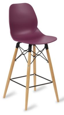 Mylo Designer High Stool With A Plum Seat And Beech Legs