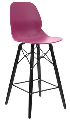 Mylo High Stool With A Plum Seat And Black Legs