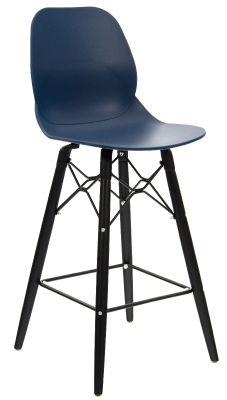 Mylo High Stool In Navy With Black Legs