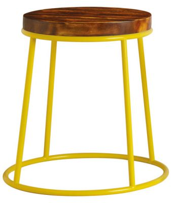 Maxo Low Stool With A Yellow Frame And A 32mmpine Seat