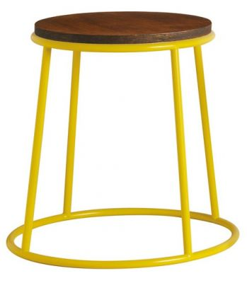 Maxo Low Stool With A Yellow Frame And Ply Seat