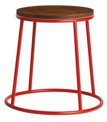 Maxo Low Stool With A Red Frame And Ply Seat