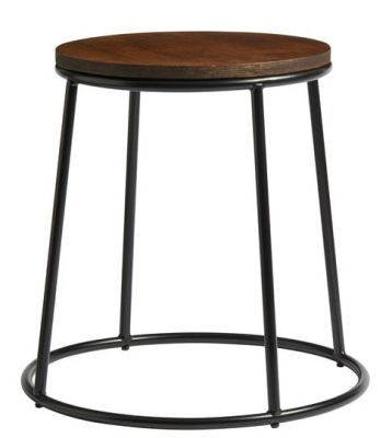 Maxo Low Stool With A Black Frame And Ply Seat