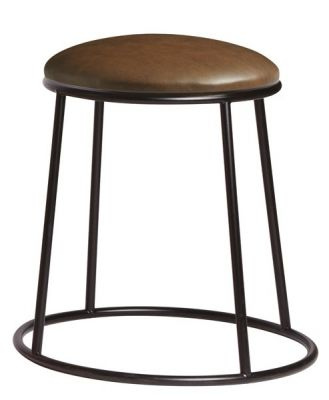 Maxo Low Stool Witrh A Raw Steel Frame And Brown Faux Leather Seat