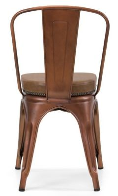 Tolix V2 Side Chair In Copper With A Brown Faux Leather Seat And Stsud Detail Rear View