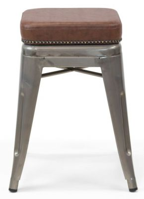 Tolix V2 Low Stool With A Leather Studded Seat 3