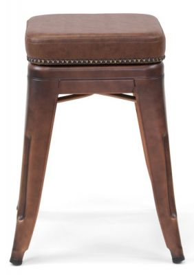 Tolix V2 Low Stool In Copper With A Leather Studded Seat V1