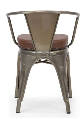Tolix V2 Gun Metal Arm Chair With A Leather Studded Seat Rear View