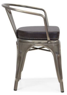 Tolix V2 Arm Chair In A Gun Metal Finish And Black Leather Sutudded Seat
