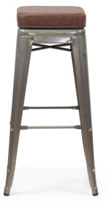 Tolix V2 High Stool With A Leather Sudded Seat And Gun Mertal Finish