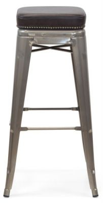 Tolix V2 High Stool With A Gun Metal Finish And Black Leather Sudded Seat 2