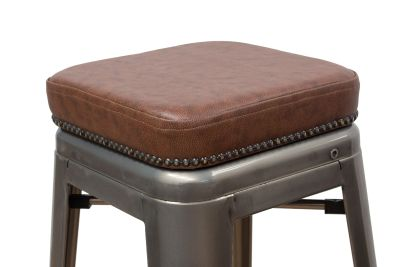 Tolix V2 High Stool With A Leather Seat Detail Shot