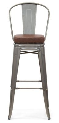 Tolix V2 Metal High Chair With A Faux Leather Seat Front Viiew