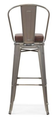 Tolix V2 High Chair In Gun Metal With A Leather Studded Seat Rear View