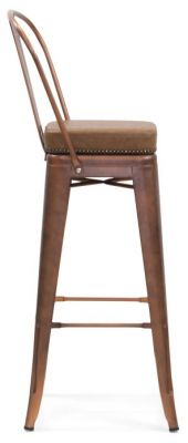 Tolix V2 High Chair In Cooper With A Leather Studded Seat Side View