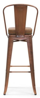 Tolix V2 High Chair In Copper With A Leather Seat Rear View